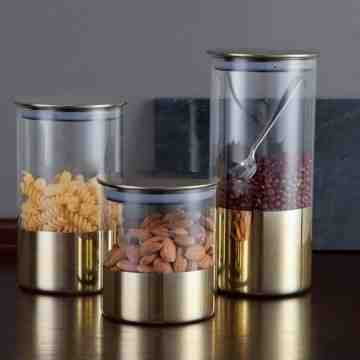 UCHII Exclusive Glass Canister Rose Gold Design set | 3pcs Toples Kaca - Rose Gold image