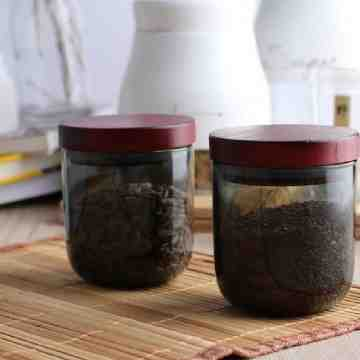 UCHII Glass Canister + Bamboo Lid Transparent Black / Toples Serbaguna image