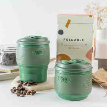 UCHII Silicone Foldable Travel Coffee Cup | Tumbler Gelas Lipat Karet Army Green image