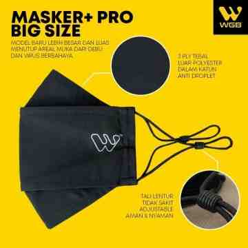 Masker+ PRO BIG SIZE Bahan 3 Lapis Tebal Earloop Korea Anti Virus WGB
