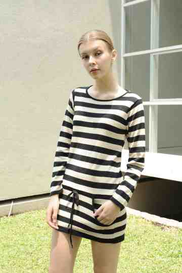602 Stripe Knit Blouse Dress