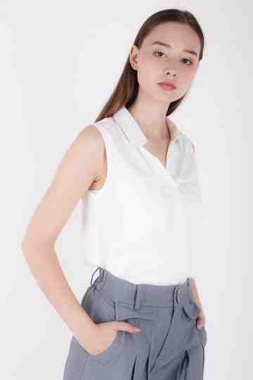 Jolene Sleeveless Collar Blouse