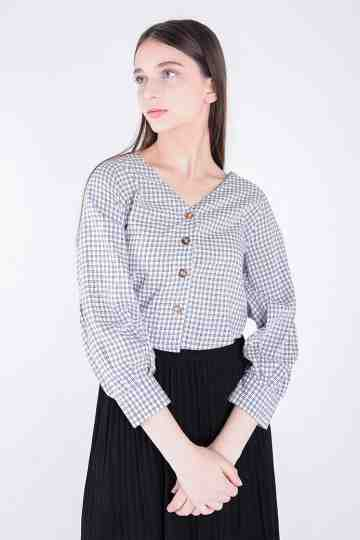 Check Rayon Crop Blouse