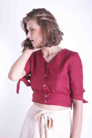 LINEN CROP BLOUSE BL 160