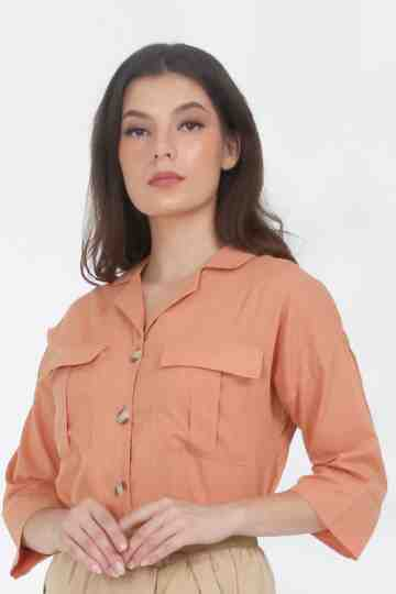 RZ-37 COTTON SAFARI BLOUSE - ORANGE