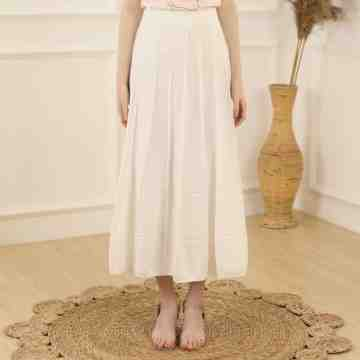 CARLA - C017 META FLARE KNIT SKIRT WHITE