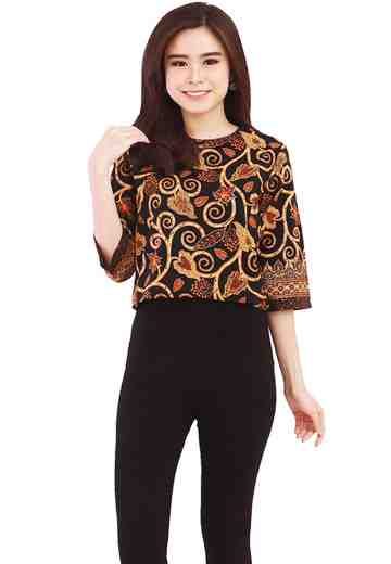 3/4 Sleeve Blouse Black Anjani