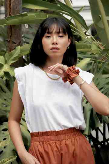Sleeveless Shoulder Top in White image