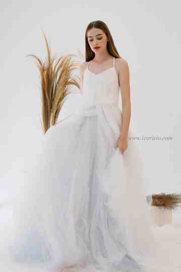 SEA TULLE GOWN - OFF WHITE/BLUE (SAMPLE SALE) image