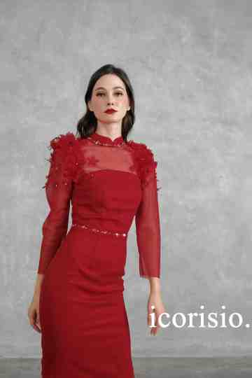 VOEUX DRESS - MAROON image