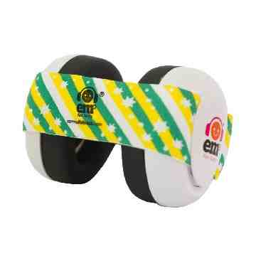 EMS White Earmuff 4Bubs - Green Gold Stripes