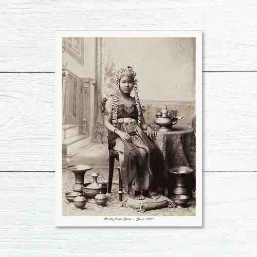 Old East Indies Greeting Card Brides Girl From Indonesia 1880