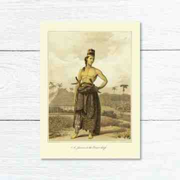 Old East Indies Greeting Card A Javan in the Court dress
