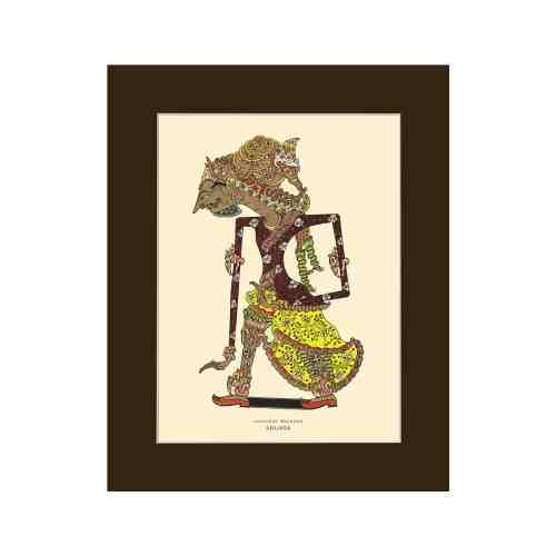 Old East Indies Indonesian Wayang Figures - Abijasa Cardboard Frame