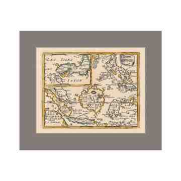 Old East Indies Indonesia and Japan - Year 1692 Cardboard Frame