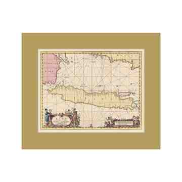 Old East Indies Java Island - Year 1657 Cardboard Frame