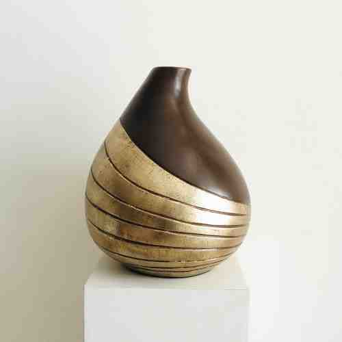 Lumikasa Brown Gold Decorative Short Vase