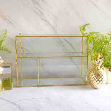 Harriet & Co Brass Glass Display Rack Storage Box