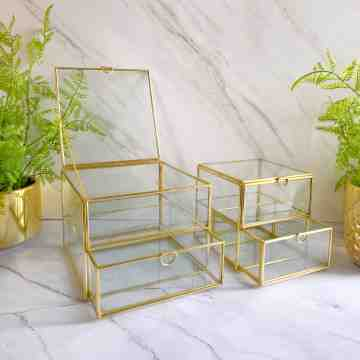 Harriet and Co Brass Glass Stack Drawer Storage Box