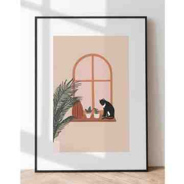 Harriet and Co Cozy Home Wall Art - WINDOW KITTY