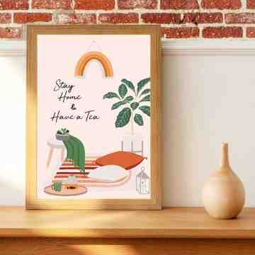 Harriet and Co Cozy Home Wall Art - STAY HOME AND HAVE A TEA