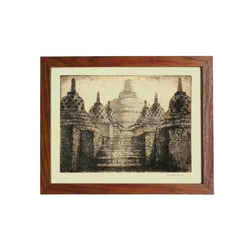 Old East Indies Frame Borobudur Temple on Java 1 - Year 1920