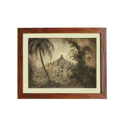 Old East Indies Frame Borobudur Temple on Java 4 - Year 1920