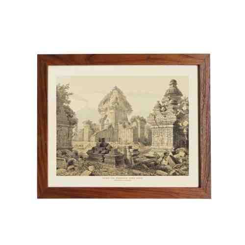 Old East Indies Frame Ruins of the Prambanan Temple - Year 1852