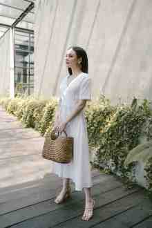 MADELINE MIDI DRESS IN OFFWHITE