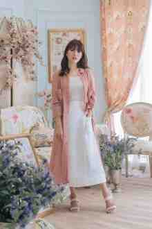 CHRISTIAN SILK DRESS IN ROSE BLOSSOM