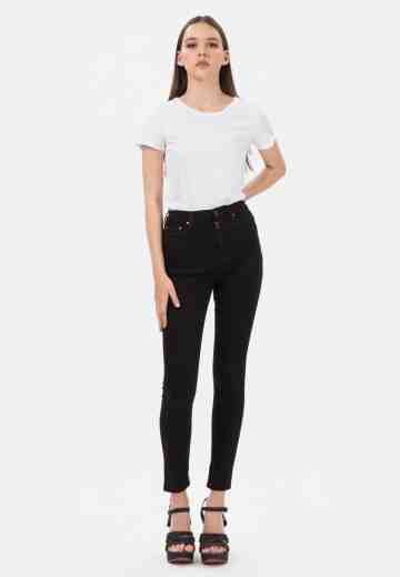Highwaist Skinny Jeans with Pocket in Black image