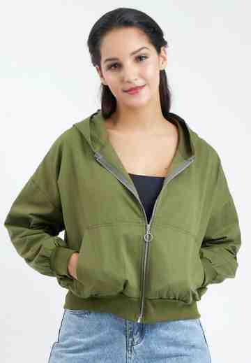 Pocket Hoody Bomber Jacket in Green image