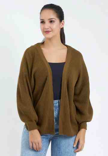 Balloon Sleeve Knit Cardigan in Brown image