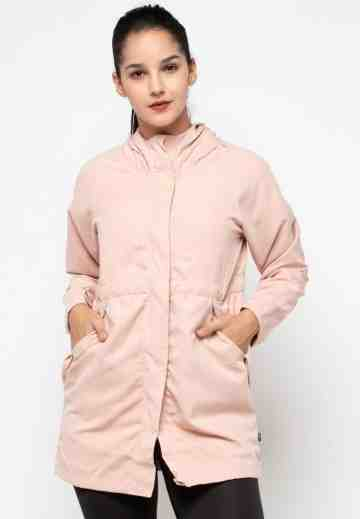 Long Sleeve Hooded Parka Jacket in Pink image