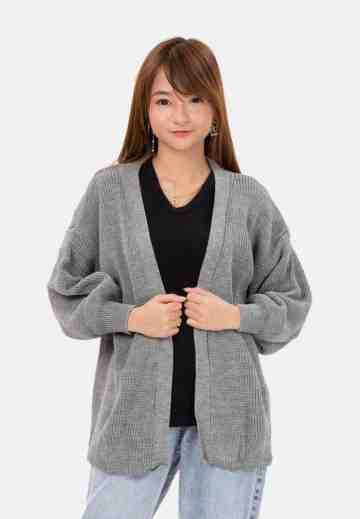 Balloon Sleeve Knit Cardigan in Grey image