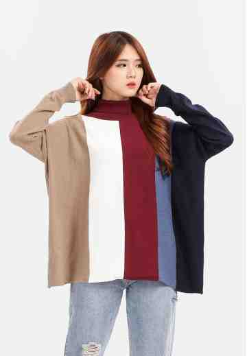 Four Colour Turtleneck Knit Blouse in Maroon image