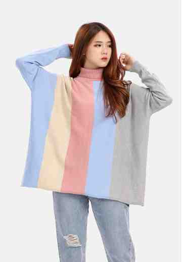 Four Colour Turtleneck Knit Blouse in Pink image