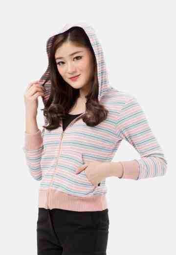 Candy Stripe Hoody Rib Jacket in Pink image