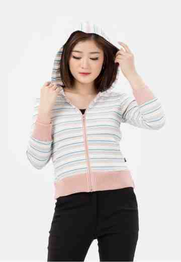 Candy Stripe Hoody Rib Jacket in White image