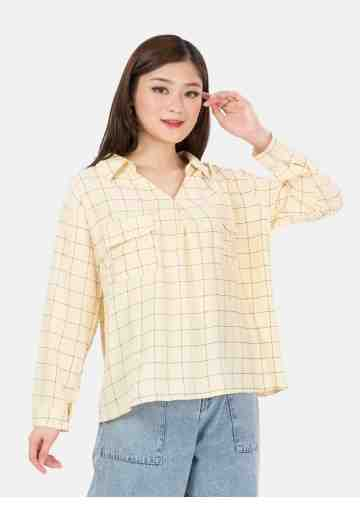 Long Sleeve Square Blouse in Yellow image