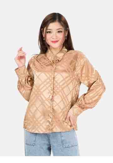 Gold Button Sateen Shirt in Brown image