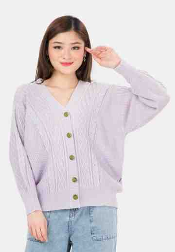 Cable Button Knit Cardigan in Lilac image