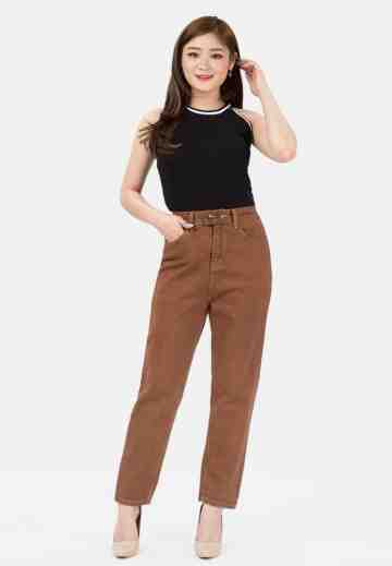 New Boyfriend Jeans with Elastic Waist in Brown image