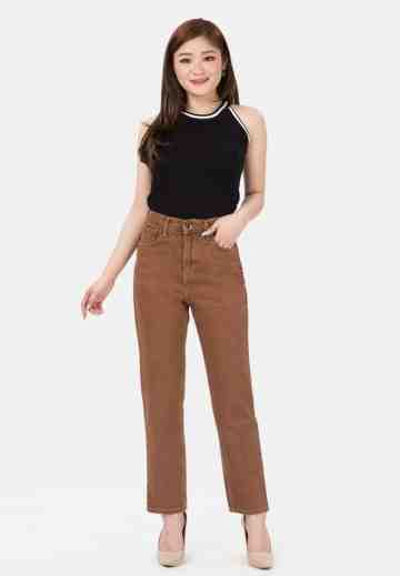 Plain Boyfriend Jeans in Brown image