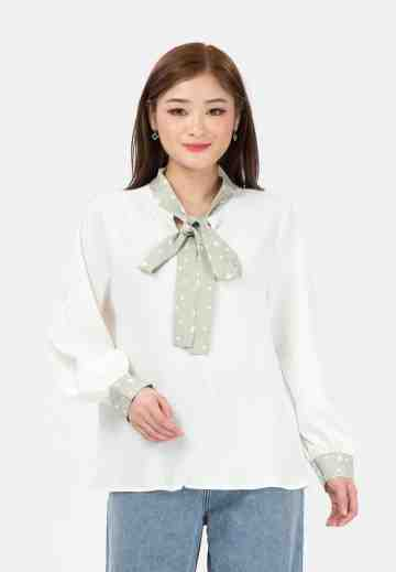 Long Sleeve Blouse with Ribbon image