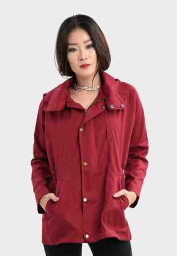 Hoody Parka Jacket with Gold Button in Maroon image