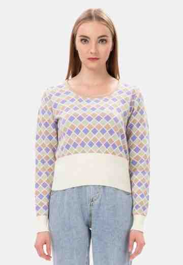 Diamond Pattern Sweater with Rib in Cream image