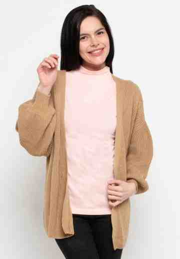 Balloon Sleeve Knit Cardigan in Beige image