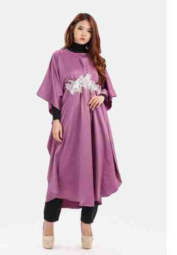Big Batwing White Flower Caftan in Purple image