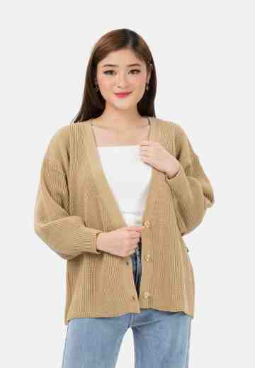 Balloon Sleeve Knit Cardigan with button in Beige image